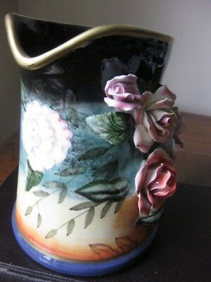 Decorator Art Porcelain Vase Pitcher with 3D Roses Very Colorful