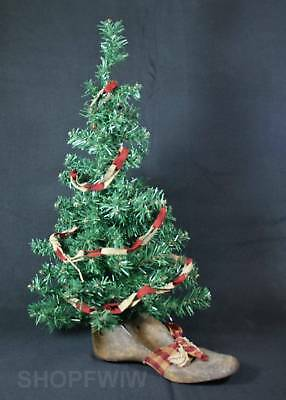 Primitive Christmas Tree.Hand Crafted 26 Primitive Christmas Tree In Genuine Antique Wood Shoe Last Base