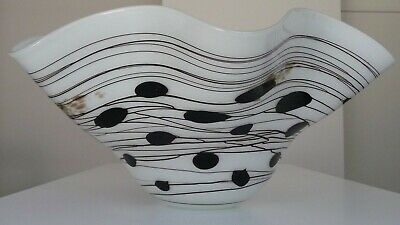 Large white handmade blown decorative glass bowl (fruit or punch bowl)