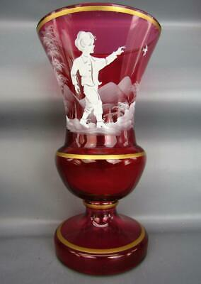 "MARY GREGORY-Style Hand-Decorated Bohemian Cranberry Art Glass 8"" Vase 6548"