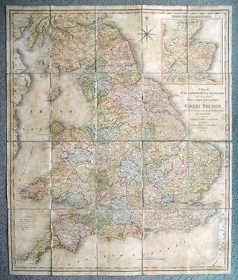 1801 W Faden MAP of England Wales Scotland GREAT BRITAIN For Paterson's Roads