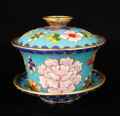 China Handwork Colored Drawing Cloisonne Copper Foetus Covered Bowl Tea Cup