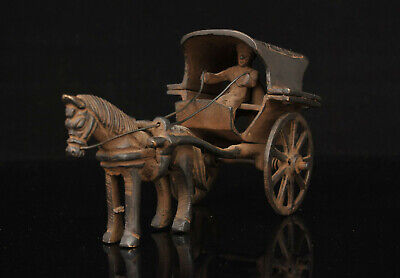 Rare China Old Hand-carved Retro Brass Chariot Home Decoration