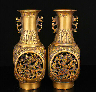 A Pair China Old Handwork Hollow Out Brass Dragon phoenix Vase Home Decoration