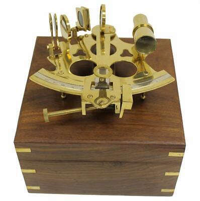 Nautical 6 inch Brass Astrolabe Sextant Decorative Wooden Box Vintage Style