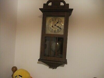 Fantastic Vintage Striking Hardwood Case 8 Day Wall Clock With Key & Pendulum