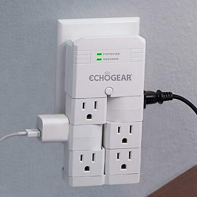 ECHOGEAR On-Wall Surge Protector with 6 Pivoting AC Outlets & 1080 Joules of...