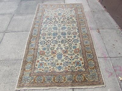 Fine Antique Hand Made Traditional Persian Oriental Wool Cream Rug 200x115cm
