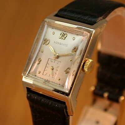 1949 LONGINES Gents Art Deco Vintage Swiss Watch / Gold Filled / JUST SERVICED