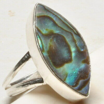 925 Sterling Silver Plated Abalone Shell Ring Sz 9