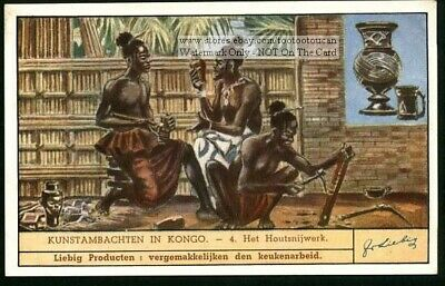 Africa Native  Congo Art Wood Carving Artist 75 Y/O Trade Ad Card