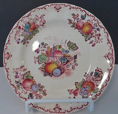 MASON'S PATENT IRONSTONE SALAD PLATE, Made in England, FRUIT BASKET, RED, Vint.