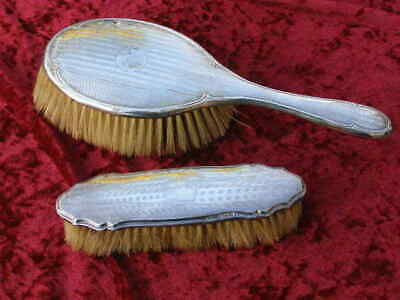 Antique 1918 Sterling Solid Silver Backed Hair Brush & Clothes Brush