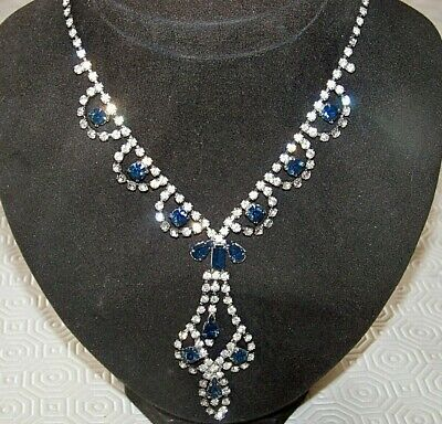Vintage Jewellery Art Deco Sapphire & Clear Rhinestone Cocktail Dropper Necklace