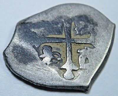 1600s Spanish Silver 1/2 Reales Real Colonial Cob Pirate Antique Treasure Coin