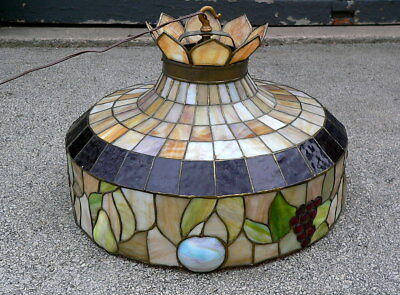 1920s Stained Leaded Glass Embossed Fruit Hanging Lamp Shade Light Fixture