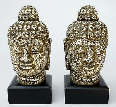 Pair of Resin Large Chinese Buddha Bookend Figurine Statue Sculpture