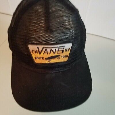 0452a47593a Vans malted All mesh trucker hat patch black adjustable snapback off the  wall