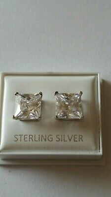 Sterling Silver 10x10 Cubic Zirconia Square Studs Ladies