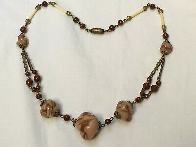Antique 1920s - 1930s Deco brown beige colour carved glass bead brass necklace