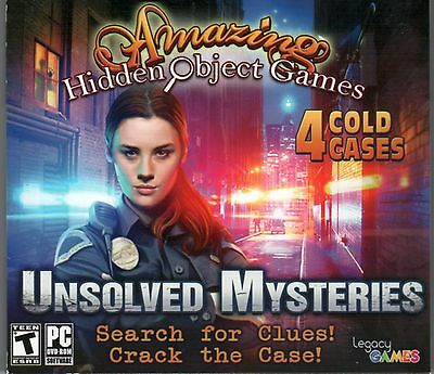 UNSOLVED MYSTERIES Amazing Hidden Object Games 4 PACK + BONUS PC Game DVD NEW