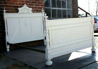 Quality painted Victorian French five foot wide monogrammed king size double bed