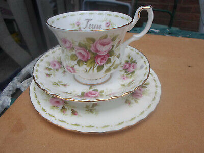 "Royal Albert Flower of the Month "" June  "" Trio  Cup ,Saucer, Plate"