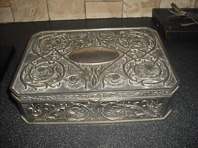 Heavy Art Nouveau Style Silver Plated/Metal Jewellrey Box