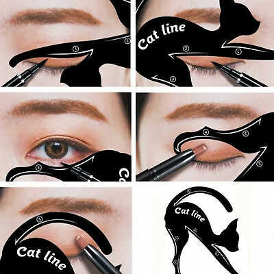 2PC Cat Eyeliner Stencil Models Template Shaper Bottom Liner Eye Makeup Tool