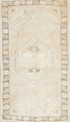 One-of-a-Kind Muted Color Oushak Turkish Oriental Hand-Knotted 2'x3' Wool Rug