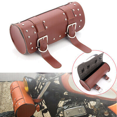 Universal PU Leather Front Fork Tool Bag Pouch Luggage SaddleBag For Harley BMW