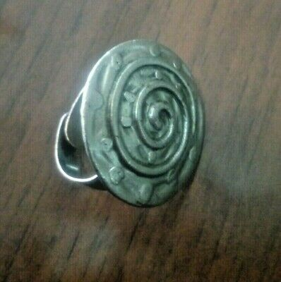 Viking period metal color silver ring with solar signs