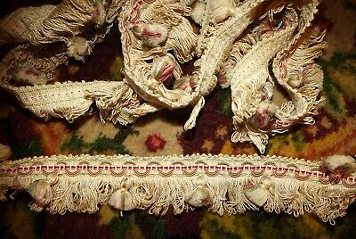 """2.6 yds ANTIQUE 1890's French Victorian Loop FRINGE with Tassels 93"""" 2 AVAILABLE"""
