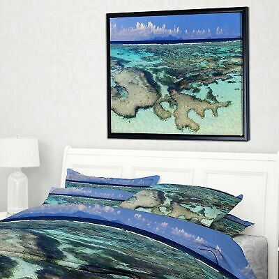 Designart 'Turquoise Tropical Ocean Waters' Modern Seascape Framed Canvas
