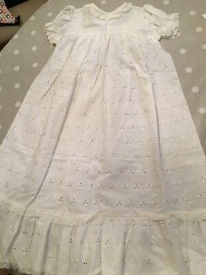 Vintage Polyester & Cotton White Christening Gown.