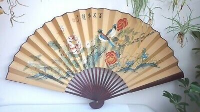 "Huge 46"" Vintage Hand Painted Chinese Bird Peony Bamboo Hanging Fan Wall Display"