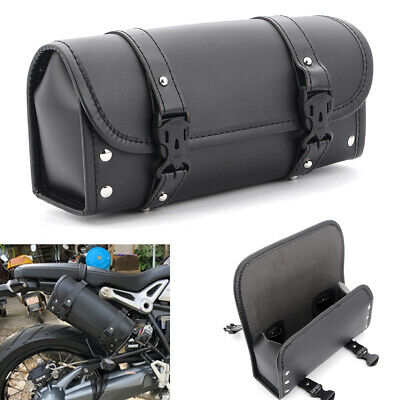 Universal Motorcycle Saddle Bag Fork Tool Pouch Luggage Black Leather For Harley