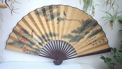 "Huge 46"" Vintage Chinese Hand Painted Stork Folding Fan Hanging Wall Display"