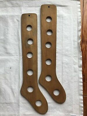 ANTIQUE Stocking Sock Stretchers WOODEN Pair Forms CHILD's SIZE Primitive 16""