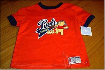 New Wt Winnie The Pooh Stitched Baseball Red Cotton Shirt Infant Boys 18 Month
