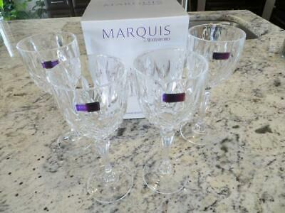 """4 White Wine Goblets Glasses MARKHAM Waterford Marquis Crystal 8-1/8"""" Italy"""