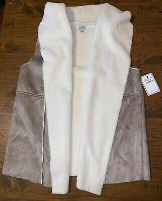 b55342435fe NWT SUSINA NORDSTROM RACK Women s Faux Shearling Gray Ivory Vest Size L NEW