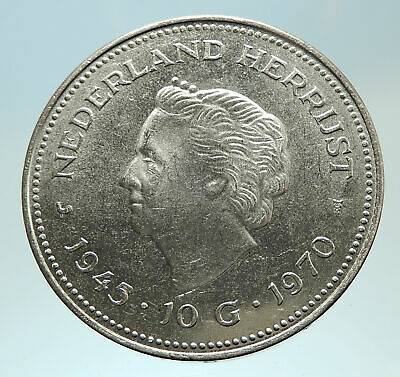 1970 Netherlands Kingdom Queen JULIANA I Gulden Authentic Silver Coin i76773