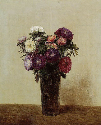 Stunning Oil painting Henri Fantin Latour - Vase of Flowers Queens Daisies