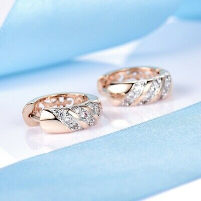 Attractive Ladies Wedding Clear White Sapphire Crystal Round Gold Hoop Earrings