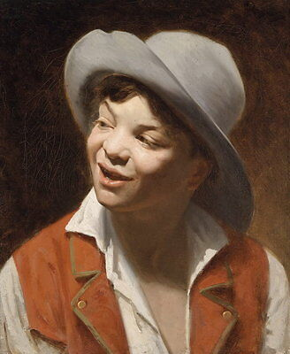 Hand painted oil painting handsome young boy with smiling wearing hat canvas