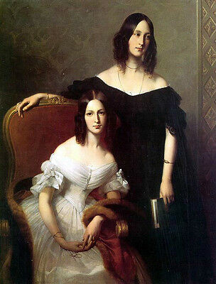Stunning Oil painting Dubufe Louis-Edouard French Portrait of Two Sisters
