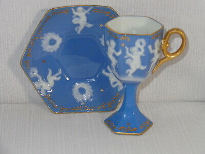 Vintage Pate Sur Pate Angels / Cupids with Wreaths Porcelain Cup & Saucer
