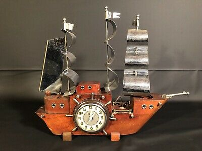 Vintage United Clock Co Electric Ship Clock Mantel with working lights