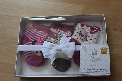 Nwt Girls Disney Store Sz 0-6 Months Socks 3 Pairs Minnie Mouse Purple